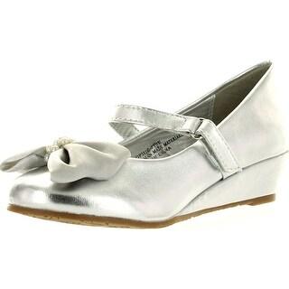 Little Angel Girls Sophie-730E Bow Embellishment Round Toe Wedge Heel Sandal