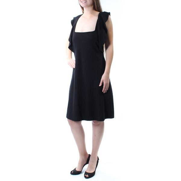 Shop French Connection Womens Black Cap Sleeve Square Neck Knee