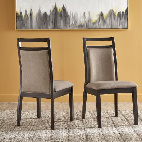 Priya Espresso and Grey Linen Dining Chair (Set of 2) by iNSPIRE Q Modern - Set of 2