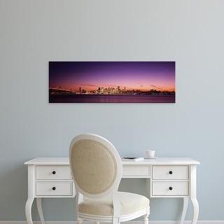 Easy Art Prints Panoramic Image 'Suspension bridge with city skyline, Bay Bridge, San Francisco, California' Canvas Art