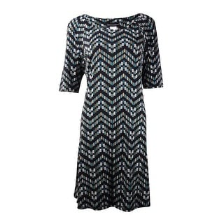 Connected Women's Printed Half-Sleeves Jersey Dress (10, Teal) - 10