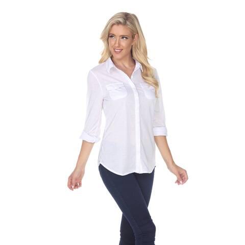 Skylar Stretchy Button-Down Top - White
