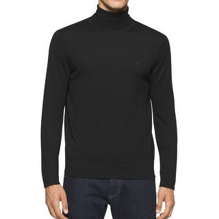 Calvin Klein NEW Black Mens Size Large L Knitted Turtleneck Sweater