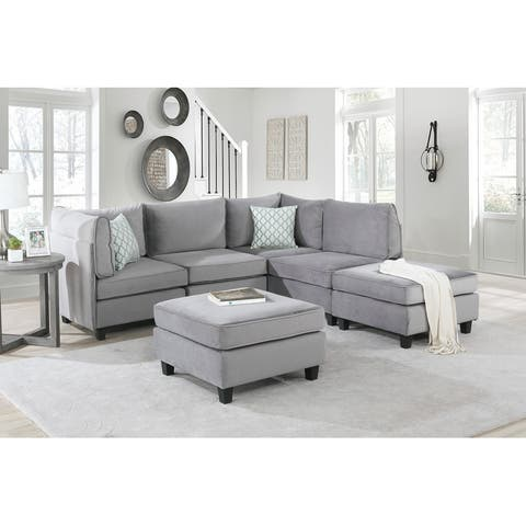 Simona Gray Velvet 6Pc Modular Reversible Sectional Sofa Couch
