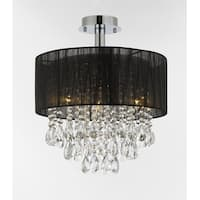 """Silver and Crystal 15""""W Ceiling Light Chandelier Pendant Flush Mount Black Shade"""
