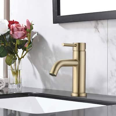 Modern Bathroom Faucet Single Handle Gold Finish