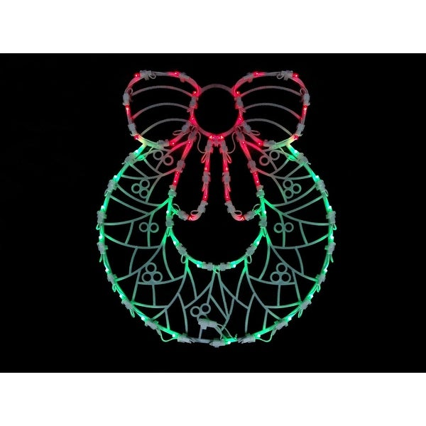 """18"""" LED Lighted Wreath Double Sided Christmas Window Silhouette Decoration"""