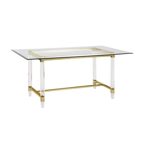 """Best Quality Furniture Glass Acrylic Dining Table with Gold Trestle - 68""""L"""