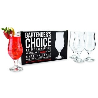 Amici Bartenders Choice 15 oz Footed Hurricane Glass, Set of 4