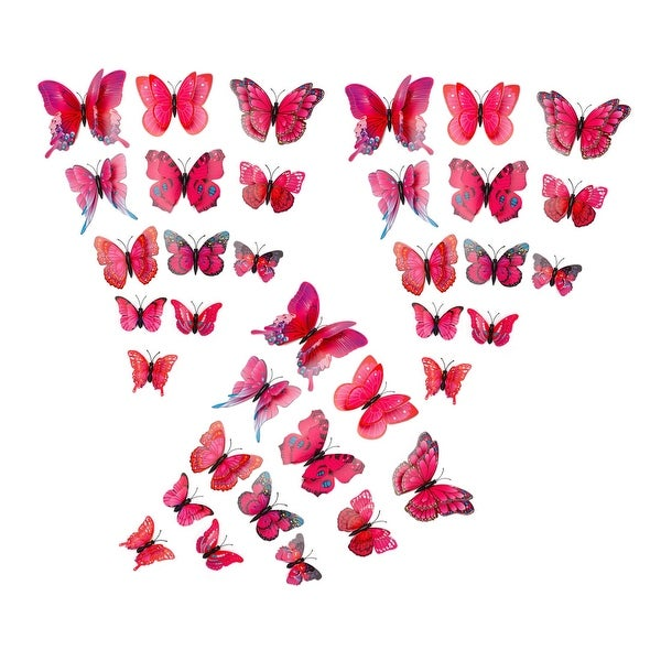 36pcs 3D Butterfly Wall Stickers for Room Decoration Fuchsia