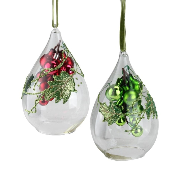Set of 2 Green and Red Grape Clusters in Teardrop Cloche Christmas Ornaments 6""