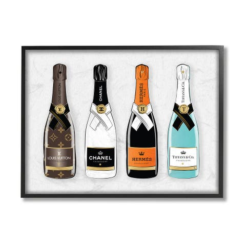 Stupell Industries Glam Fashion Champagne Bottles Style Brand Framed Wall Art