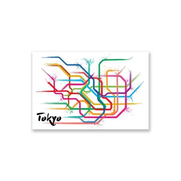 Tokyo - Splatter Train Maps - 16x24 Matte Poster Print Wall Art