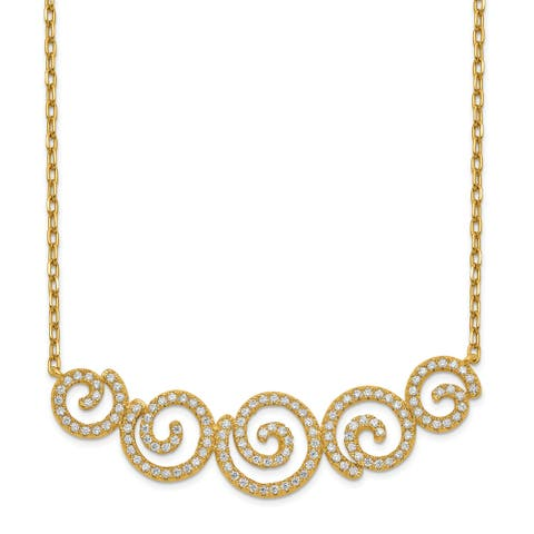 Sterling Silver Gold-tone CZ Swirls 16-inch with 2-inch Extension Necklace by Versil