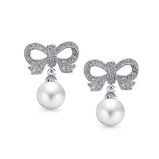 Bling Jewelry CZ Bow Imitation Pearl Bridal Drop Earrings Rhodium Plated