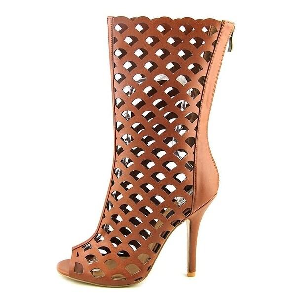 HeartSoul Womens Danette Leather Peep Toe Mid-Calf Fashion Boots