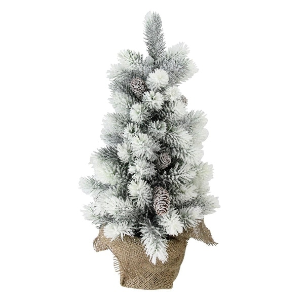 "19"" Flocked Mini Pine Christmas Tree with Berries in Burlap Covered Vase"
