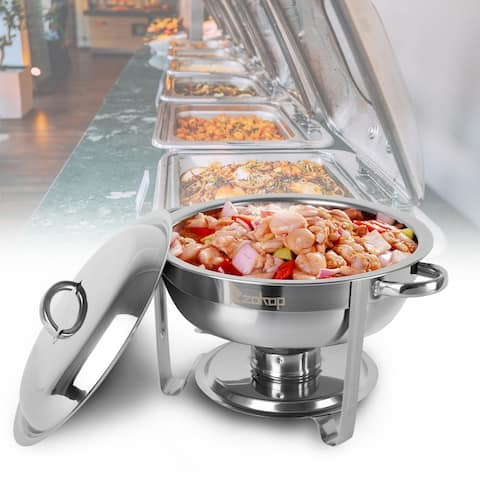 5Qt Stainless Steel Chafing Dish Round Chafer Buffet Catering Warmer Set