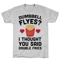 Dumbbell Flyes I Thought You Said Double Fries Athletic Gray Men's Cotton Tee by LookHUMAN