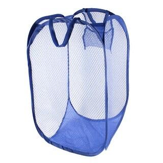 Unique Bargains Foldable Lingerie Delicates Bra Mesh Wash Bag Home  Household Net Washing Laundry Basket Blue