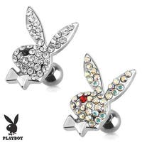 Playboy Bunny with Multi Paved Gems 316L Surgical Steel Cartilage/Tragus Barbell (Sold Individually)
