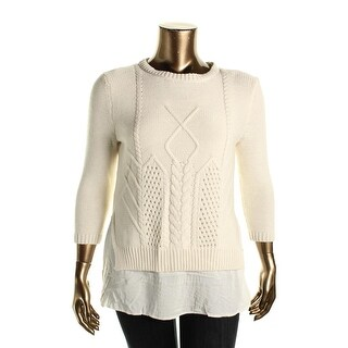 Avec Womens Cable Knit 2-in-1 Pullover Sweater