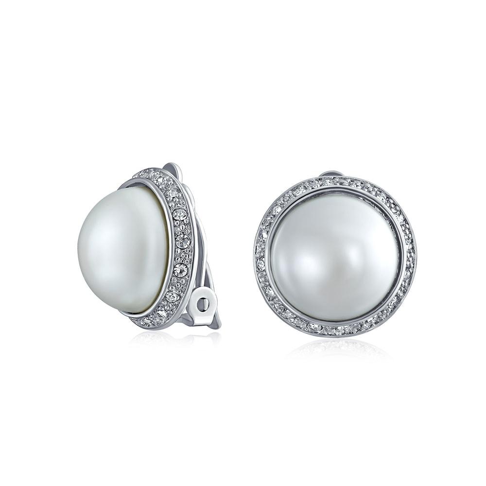 LAXPICOL 10mm Simulated Pearl Clip On Earrings No Piercing Fashion Elegant Stud Earrings For Women