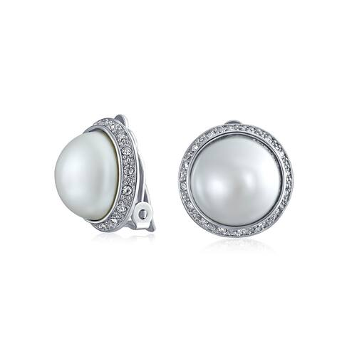 Circle Dome Button Crystal Halo White Faux Pearl Clip On Earrings
