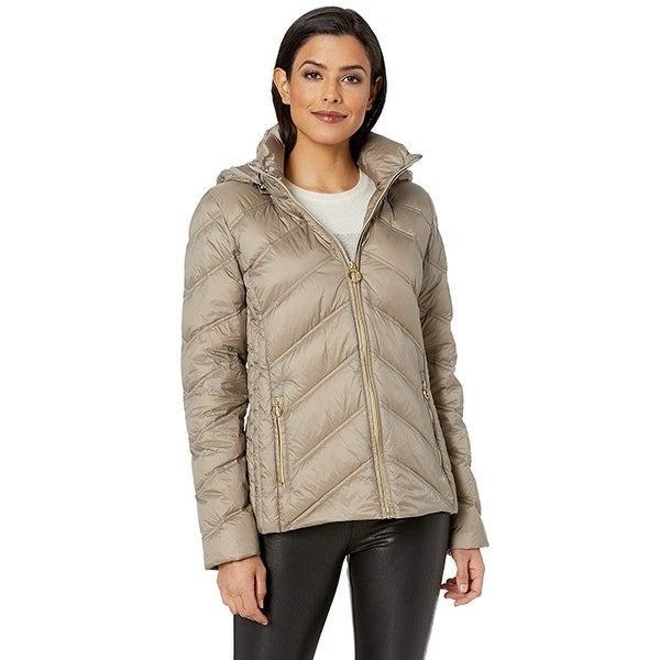 Michael Michael Kors Taupe Chevron Packable Down Coat with Hood