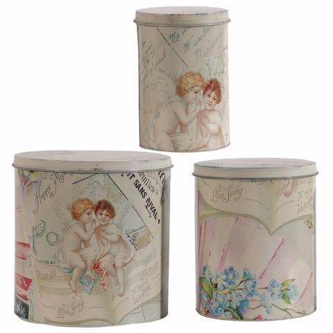 Printed Decorative Tin Boxes - Set Of 3