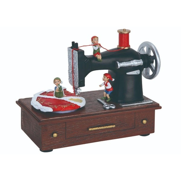 "Pack of 2 Musical Elf Sewing Machine Table Top Figures 5.5"" - brown"