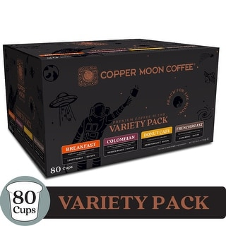 Copper Moon Single Serve Pods for Keurig K-Cup Brewers - Light Medium and Dark Roast Variety Pack Coffee - 80 Count