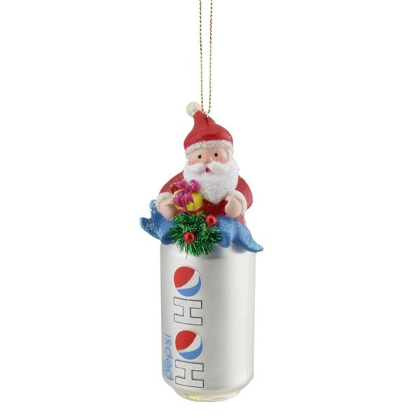 "4.75"" Silver ""Ho Ho"" Diet Pepsi Can with Santa Topper Decorative Glass Christmas Ornament"