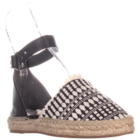 Rebecca Minkoff Vicky Ankle Strap Flats, Black/White Woven/Vachetta