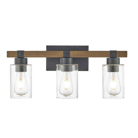 3 Light Wood and Black Vanity Bathroom Light