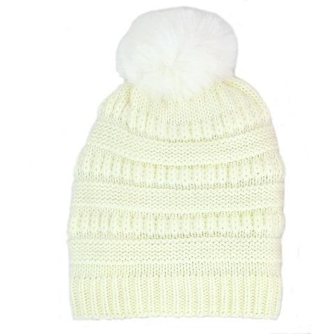 Chunky Cable Knit Beanie Hat with Pom Pom Winter Soft Stretch Cap Hat