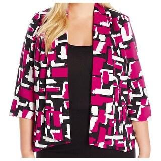 Kasper NEW Pink Women's Size 20W Plus Makali Printed Flyaway Jacket