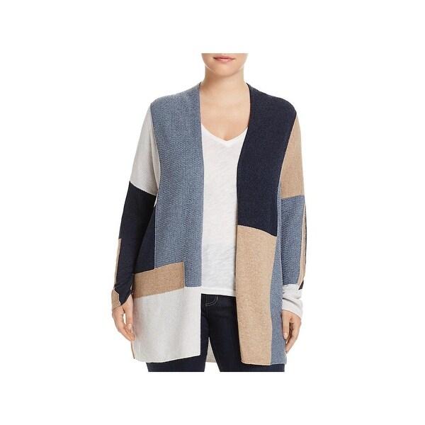 Lucky Brand Womens Plus Cardigan Sweater Wool Blend Colorblock