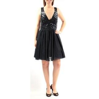 TRIXXI $89 Womens New 2570 Navy Sequined Pleated Sleeveless Dress 9 Juniors B+B