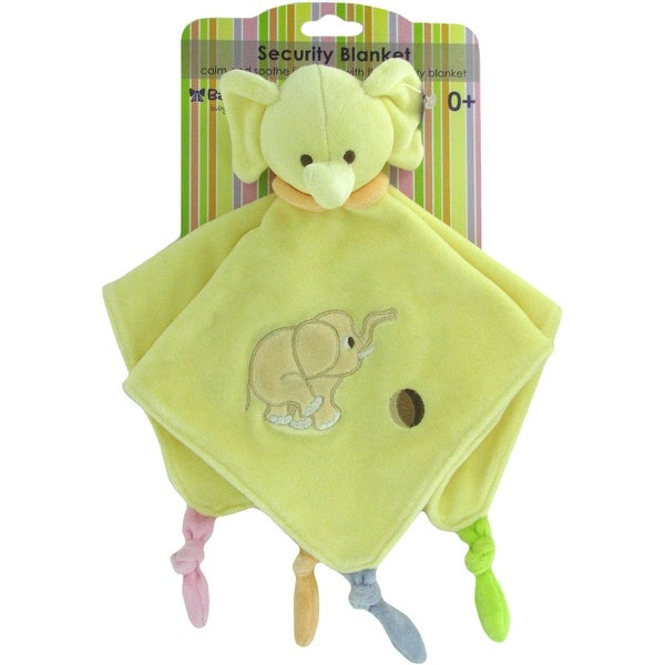 "Russ Baby Bow Plush Elephant Rattle Blanket in Yellow - 14"" x 14"""