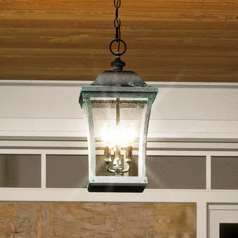 """Luxury Antique Outdoor Pendant Light, 20.5""""H x 10""""W, with French Country Style, Olde Patina, UQL1423 by Urban Ambiance"""