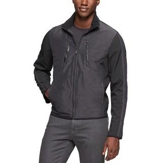 Calvin Klein Softshell Garret Panel Jacket Large Black Full Zip Windbreaker