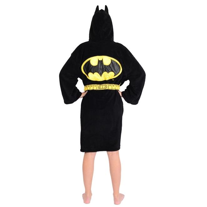 Batman Up All Night Fighting Crime Fleece Bathrobe and Pajama Set