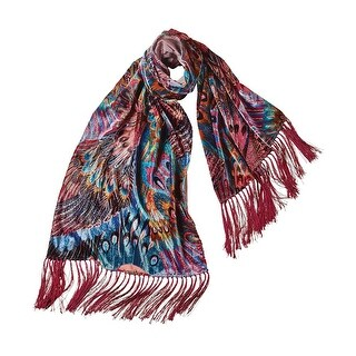 Women's Peacock Wings Burn-Out Velvet Scarf - Bright Colors Fringed - One size