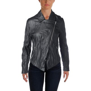 BB Dakota Womens Faux Leather Wrinkled Motorcycle Jacket - L