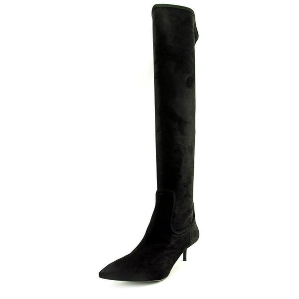 Nine West Fortina Women Pointed Toe Canvas Black Over the Knee Boot