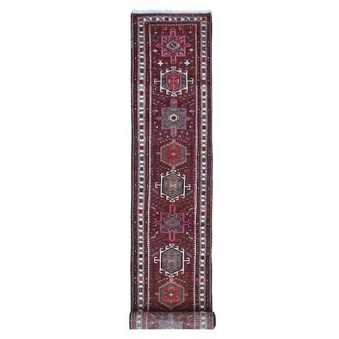"Shahbanu Rugs Organic Wool Vintage Persian Karajeh Geometric Design Saturate Red Hand Knotted Oriental Rug (2'6"" x 13'10"")"