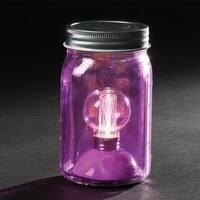 "6.5"" Battery Operated LED Edison Bulb Vintage-Style Purple Glass Mason Jar Lantern"