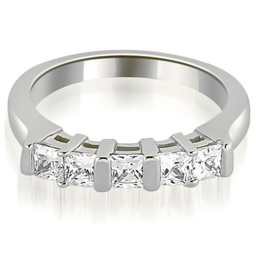 0.60 cttw. 14K White Gold Five Stone Princess Cut Diamond Wedding Band