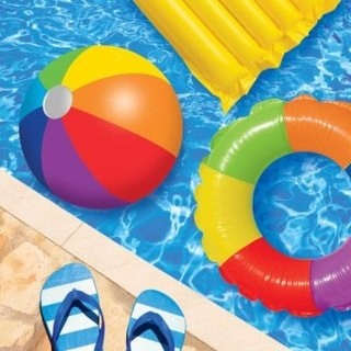 """Club Pack of 192 Pool Play Decorative Multicolor Pool Party Luncheon Napkins 6.5"""""""